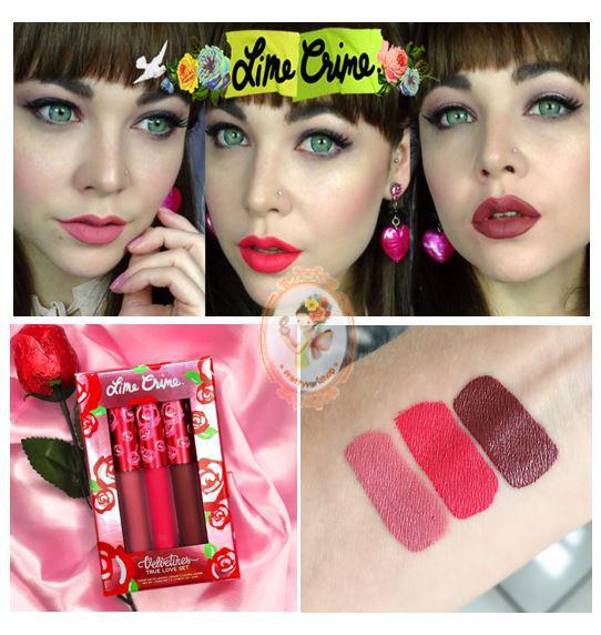 *พร้อมส่ง*Lime Crime Velvetines Liquid Matte Lipstick True Love Set (Limited Edition) เซ็ทลิปลิควิคเนื้อแมท 3 สีสวยต่างสไตล์ บ่งบอกความเป็นหญิงสาวในแต่ละอารมณ์ได้อย่างชัดเจน ทั้งสีชมพูโทนหวาน สีชมพูอมแดงเปรี้ยวจี้ด และสีแดงเข้มอมม่วงสุดเซ็กซี่ สีชัด พิกเม