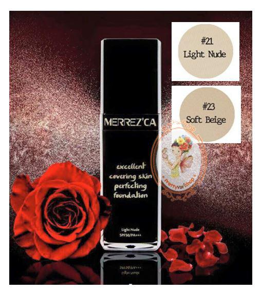 ** �������**Merrezca Excellent Covering Skin Perfecting Foundation SPF50+ / PA+++ �ͧ���Ẻ Water based ���������ʺҧ�� �ֺ�Һŧ ����������ҧ�Ǵ���� ����ѧ��������Ъ�����䢨ش��ҧ����лѭ�Ҽ��������º��¹�������ҧ�� �������駤�������ö㹡�á